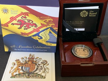 2015 Gold Proof £1 Coin The Royal Arms